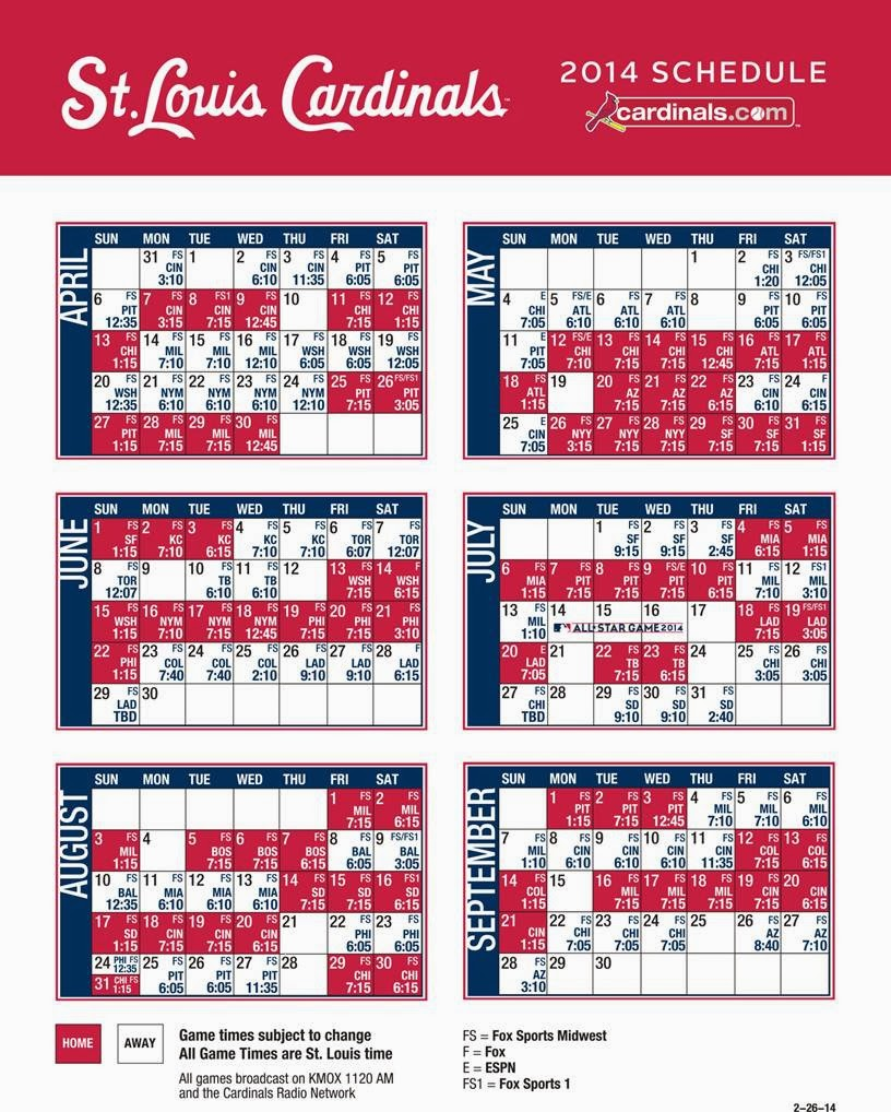 Cardnals New 2014 Tv Radio Schedule Cardinal Red Baseball