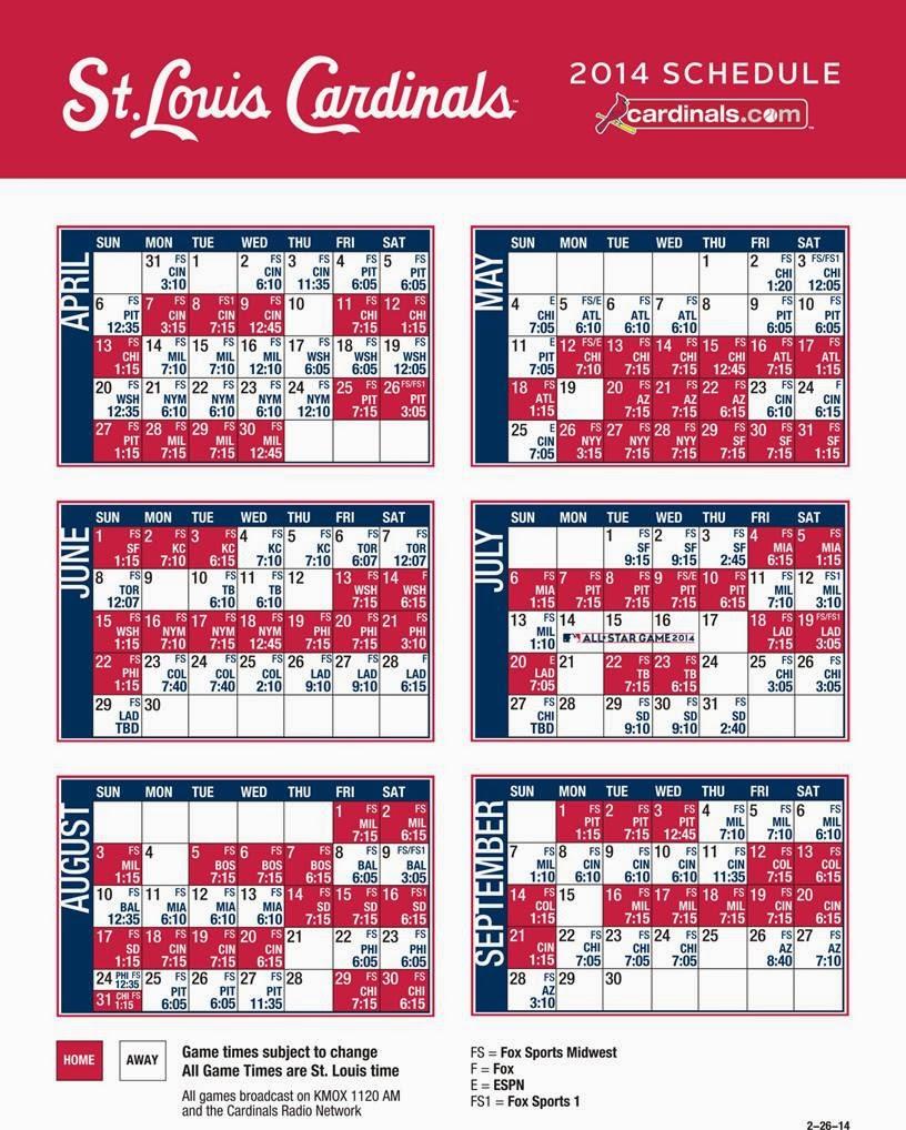cardnals new 2014 tv & radio schedule – cardinal red baseball