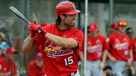 St. Louis Cardinals' Randal Grichuk bats during spring training intrasquad baseball game Monday, Feb. 29, 2016, in Jupiter, Fla. (AP Photo/Jeff Roberson)
