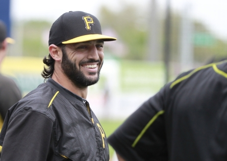 Mar 6, 2015; Tampa, FL, USA; Pittsburgh Pirates second baseman Sean Rodriguez (3) smiles as he works out before a spring training baseball game against the New York Yankees at George M. Steinbrenner Field. Mandatory Credit: Kim Klement-USA TODAY Sports