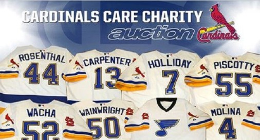 967ad3402 Cards to Auction off Blues Theme Batting Jerseys. cardinalscare. Cardinals  Care, the charitable foundation of the St. Louis Cardinals, announced the  start ...